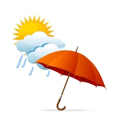 Rainy weather icon with clouds and umbrella and vector