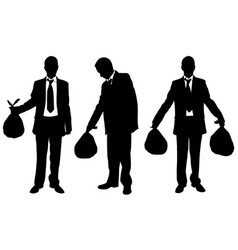 set of people holding garbage bags vector image