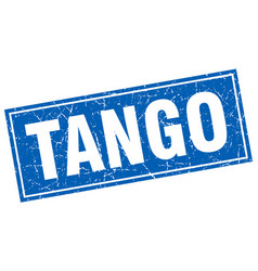 Tango blue square grunge stamp on white vector