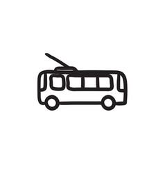 Trolleybus sketch icon vector