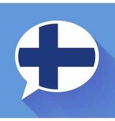 White speech bubble with Finland flag on blue vector image