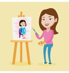 Creative female artist painting portrait vector