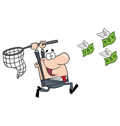 Happy businessman chasing money vector