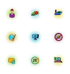 Online virus icons set pop-art style vector