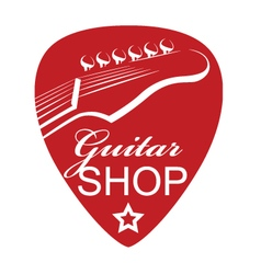 icon with guitar and pick vector image