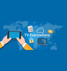 Tv everywhere watch television on mobile device vector