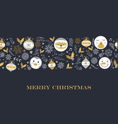 Merry christmas cute retro decoration card design vector