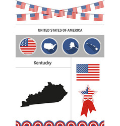 map of kentucky set of flat design icons vector image