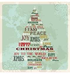 Vintage merry christmas concept tree vector image