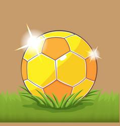 Soccer gold ball field grass vector