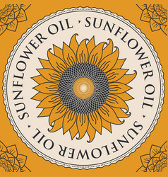 banner for refined sunflower oil with sunflower vector image