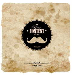 Vintage postcard mustache label on grunge paper vector
