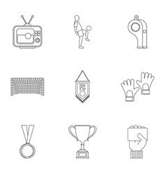 Football championship icons set outline style vector
