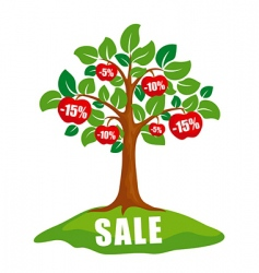 Sale concept tree with discounts vector
