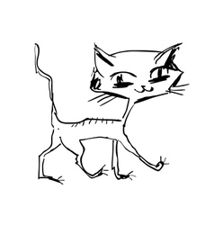 Hand drawn happy cat walking vector
