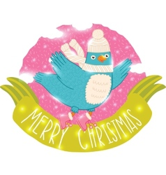 Cute christmas bird vector