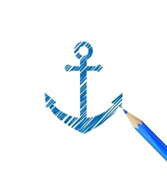Anchor drawn with blue pencil vector
