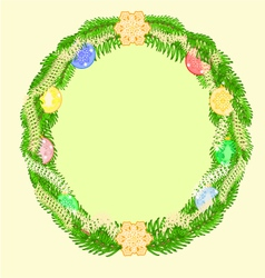 Christmas decoration wreath with vintage baubles vector