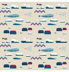 Seamless pattern village and whales vector