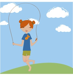 Little girl jumping with the skipping rope vector