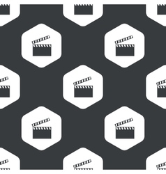 Black hexagon clapperboard pattern vector