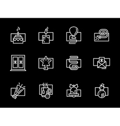 Christmas and new year white line icons vector