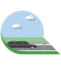 Flat design city transportation limousine side vector