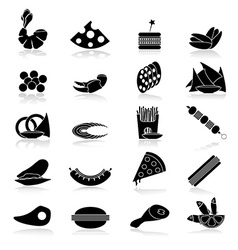 Black and white flat food snacks vector