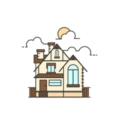 Line art of house icon vector