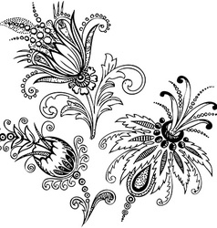 Paisley mehndi floral design vector