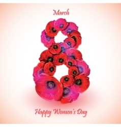 Poppy flowers on the greeting card for womens day vector