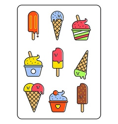 Ice-cream set Outline style design vector image