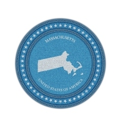 Label with map of massachussetts denim style vector