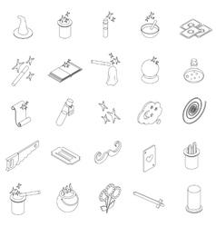Magic icons set isometric 3d style vector image
