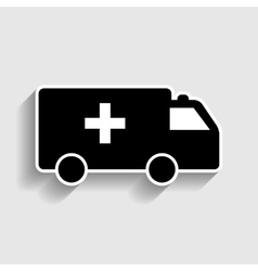 Ambulance sign sticker style icon vector