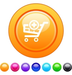 Add to cart circle button vector image