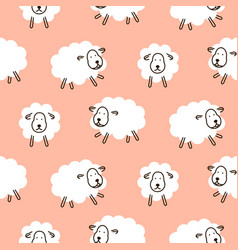 Baby sheep girlish cute seamless pattern vector