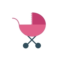Baby stroller pink childhood icon vector