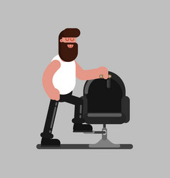 Barber standing near the chair vector