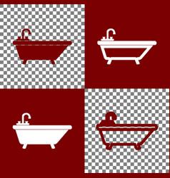Bathtub sign bordo and white vector