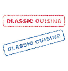 Classic cuisine textile stamps vector