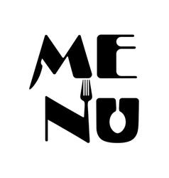 Creative food menu word logo elements vector image