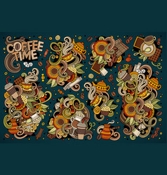 doodle cartoon set of tea and coffe vector image vector image