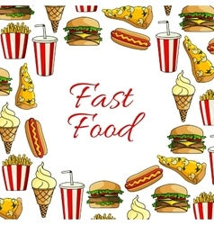 Fast food lunch dish and drink poster design vector image vector image
