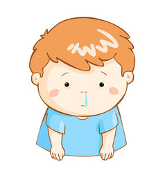 Ill boy runny nose cartoon vector