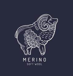 Merino sheep logo label ram vector