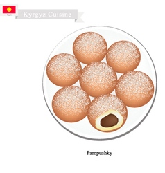 Pampushky or traditional kyrgyz raised doughnuts vector