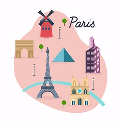 Paris Travel map and landscape of buildings and vector image