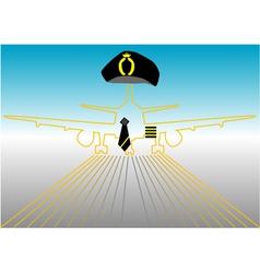 Pilot and runway vector