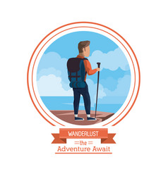 Poster color of wanderlust the adventure await vector